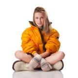 Ragazza in cappotto luminoso di inverno fotografia stock libera da diritti
