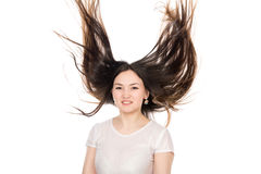 Ragazza castana asiatica con capelli lunghi Immagine Stock
