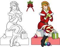 Ragazza caucasica rossa dell'elfo di Natale con il vischio Immagini Stock