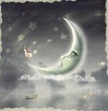 Ragazza che ammira il cielo della stella illustrazione di stock