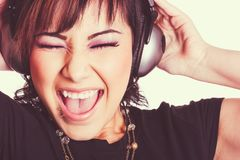 Ragazza che ascolta la musica Fotografie Stock