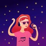 Ragazza che ascolta la musica con progettazione di vettore delle cuffie royalty illustrazione gratis