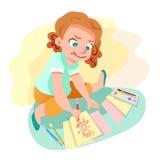 Ragazza che attinge illustrazione di carta royalty illustrazione gratis