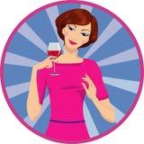 Ragazza che beve vino rosso Fotografie Stock Libere da Diritti