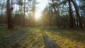 Ragazza che cammina nel movimento lento della foresta stock footage