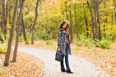 Ragazza che cammina nel parco di autunno immagine stock libera da diritti