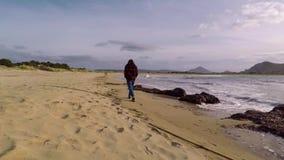 Ragazza che cammina sulla spiaggia video d archivio