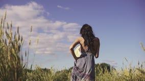 Ragazza che cammina in un campo con erba alta che sorride godendo di bello giorno di estate stock footage