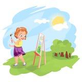 Ragazza che dipinge all'aperto illustrazione royalty illustrazione gratis