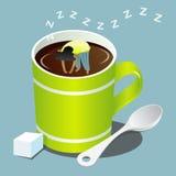Ragazza che dorme in tazza verde di caffè Fotografia Stock
