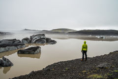 Ragazza che esamina la laguna del ghiacciaio vicino a Skaftafell Immagini Stock Libere da Diritti