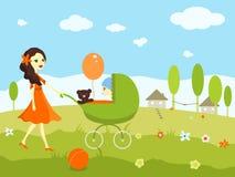 Ragazza che fa una passeggiata con un bambino in una carrozzina Fotografia Stock