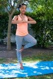 Ragazza che fa yoga di posa dell'albero Immagine Stock Libera da Diritti