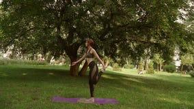 Ragazza che fa yoga nel parco stock footage