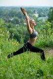 Ragazza che fa yoga sul colpo di profilo della radura Fotografia Stock