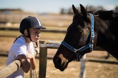 Ragazza che fissa al cavallo marrone nel ranch Immagini Stock Libere da Diritti