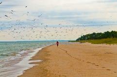 Ragazza che funziona sulla spiaggia Fotografie Stock