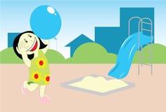 Ragazza che gioca baloon illustrazione vettoriale