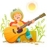 Ragazza che gioca chitarra illustrazione di stock