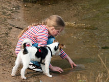 Ragazza che gioca con il cane Fotografie Stock