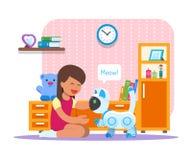 Ragazza che gioca con il robot domestico del gatto Illustrazione di vettore di concetto di tecnologia di robotica illustrazione di stock