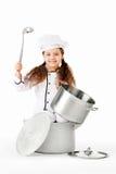 Ragazza che gioca cucinando cuoco unico fotografia stock libera da diritti