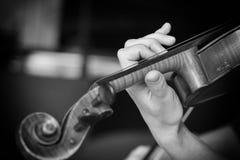 Ragazza che gioca il violino Mano di una ragazza e delle fiddle Immagine in bianco e nero fotografie stock libere da diritti