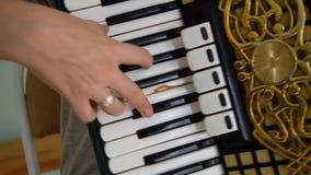 Ragazza che gioca la fisarmonica Mani che giocano la fisarmonica video d archivio