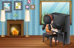 Ragazza che gioca piano a casa royalty illustrazione gratis