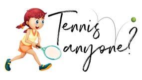 Ragazza che gioca a tennis con il tennis chiunque di frase Fotografia Stock Libera da Diritti
