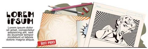 Ragazza che grida nell'orrore Pubblicità dei vostri prodotti royalty illustrazione gratis