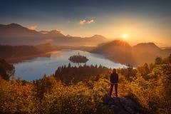 Ragazza che guarda paesaggio del lago Bled in Slovenia fotografia stock libera da diritti