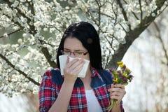 Ragazza che ha allergia Fotografie Stock Libere da Diritti