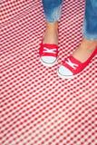Ragazza che indossa le scarpe da tennis variopinte Fotografia Stock