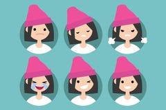 Ragazza che indossa pics rosa di profilo del beanie Immagini Stock