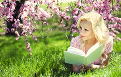 Ragazza che legge il libro sotto Cherry Blossom. Bionda Fotografia Stock Libera da Diritti