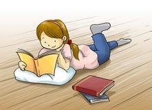 ragazza che legge un'illustrazione del fumetto del libro Fotografia Stock