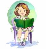 Ragazza che legge un libro Illustrazione di vettore Immagini Stock Libere da Diritti