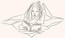 Ragazza che legge una linea arte del libro royalty illustrazione gratis