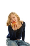 Ragazza che mangia Apple Fotografia Stock