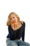 Ragazza che mangia Apple Fotografia Stock