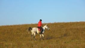 Ragazza che monta un cavallo che galoppa attraverso il campo Movimento lento stock footage