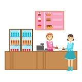 Ragazza che ordina un dolce a contro, Person Having sorridente un dessert nell'illustrazione dolce di vettore del caffè della pas Immagini Stock Libere da Diritti