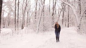Ragazza che parla sul telefono che cammina nell'inverno in parco archivi video