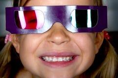 Ragazza che porta i vetri 3D Fotografia Stock Libera da Diritti