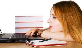 Ragazza che pratica il surfing il Internet Immagini Stock