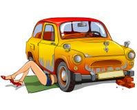 Ragazza che ripara automobile fotografia stock