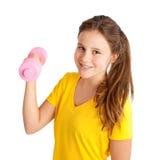 ragazza che si esercita con il dumbbell Fotografia Stock Libera da Diritti