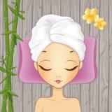 Ragazza che si rilassa nella stazione termale royalty illustrazione gratis