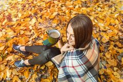 Ragazza che si siede nella foresta di autunno, in plaid con una tazza di caffè in mani Vista superiore Immagini Stock Libere da Diritti